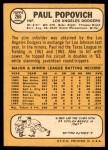 1968 Topps #266  Paul Popovich  Back Thumbnail