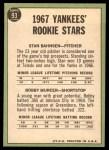 1967 Topps #93   -  Bobby Murcer / Stan Bahnsen Yankees Rookies Back Thumbnail