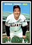 1967 Topps #116  Herman Franks  Front Thumbnail