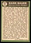 1967 Topps #534  Hank Bauer  Back Thumbnail