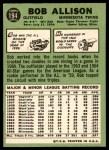 1967 Topps #194  Bob Allison  Back Thumbnail