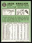 1967 Topps #316  Jack Kralick  Back Thumbnail