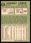 1967 Topps #91  Johnny Lewis  Back Thumbnail