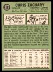 1967 Topps #212  Chris Zachary  Back Thumbnail
