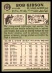 1967 Topps #210  Bob Gibson  Back Thumbnail