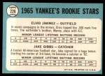 1965 Topps #226   -  Jake Gibbs / Elvio Jimenez Yankees Rookies Back Thumbnail