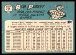 1965 Topps #214  Bob Purkey  Back Thumbnail