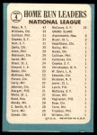 1965 Topps #4   -  Willie Mays / Billy Williams / Johnny Callison / Orlando Cepeda / Jim Hart NL HR Leaders Back Thumbnail