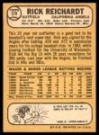 1968 Topps #570  Rick Reichardt  Back Thumbnail