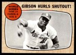 1968 Topps #154   -  Bob Gibson 1967 World Series - Game #4 - Gibson Hurls Shutout! Front Thumbnail