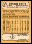 1968 Topps #596  Charlie Smith  Back Thumbnail
