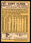 1968 Topps #180  Curt Flood  Back Thumbnail