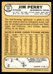 1968 Topps #393  Jim Perry  Back Thumbnail