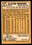 1968 Topps #167  Elston Howard  Back Thumbnail