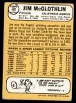 1968 Topps #493  Jim McGlothlin  Back Thumbnail