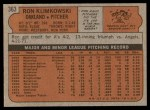 1972 Topps #363  Ron Klimkowski  Back Thumbnail