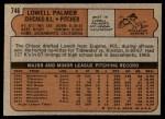 1972 Topps #746  Lowell Palmer  Back Thumbnail