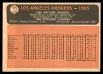 1966 Topps #238   Dodgers Team Back Thumbnail
