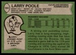 1978 Topps #184  Larry Poole  Back Thumbnail