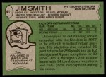 1978 Topps #411  Jim Smith  Back Thumbnail