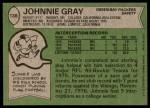 1978 Topps #138  Johnnie Gray  Back Thumbnail