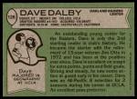 1978 Topps #128  Dave Dalby  Back Thumbnail