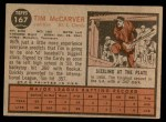 1962 Topps #167 GRN Tim McCarver  Back Thumbnail