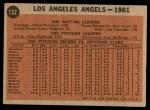 1962 Topps #132 GRN  Angels Team Back Thumbnail