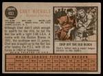 1962 Topps #403  Chet Nichols  Back Thumbnail
