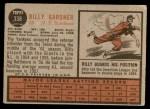 1962 Topps #338  Billy Gardner  Back Thumbnail