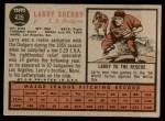 1962 Topps #435  Larry Sherry  Back Thumbnail