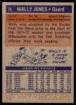 1972 Topps #78  Wally Jones   Back Thumbnail