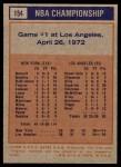 1972 Topps #154   NBA Playoffs - Game #1 Back Thumbnail