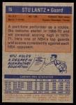 1972 Topps #16  Stu Lantz   Back Thumbnail