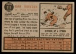 1962 Topps #519  Bob Johnson  Back Thumbnail
