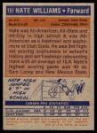 1972 Topps #151  Nate Williams   Back Thumbnail