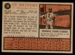 1962 Topps #30  Eddie Mathews  Back Thumbnail