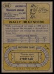 1974 Topps #489  Wally Hilgenberg  Back Thumbnail