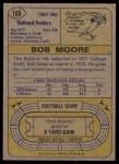 1974 Topps #168  Bob Moore  Back Thumbnail