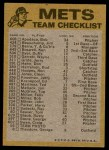 1974 Topps Red Checklist   Mets Red Team Checklist Back Thumbnail