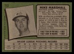 1971 Topps #713  Mike Marshall  Back Thumbnail