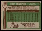 1976 Topps #501  Billy Champion  Back Thumbnail