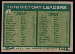 1977 Topps #5   -  Jim Palmer / Randy Jones Victory Leaders   Back Thumbnail