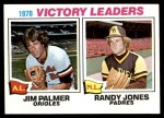 1977 Topps #5   -  Jim Palmer / Randy Jones Victory Leaders   Front Thumbnail