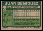 1977 Topps #81  Juan Beniquez  Back Thumbnail