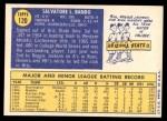 1970 Topps #120  Sal Bando  Back Thumbnail