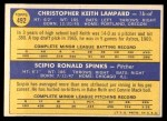1970 Topps #492   -  Keith Lampard / Scipio Spinks Astros Rookies Back Thumbnail