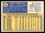 1970 Topps #365  Zoilo Versalles  Back Thumbnail