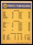1970 Topps #608   Pirates Team Back Thumbnail