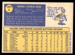 1970 Topps #4  Tom Egan  Back Thumbnail